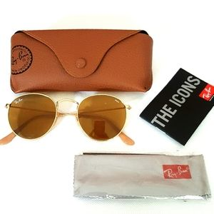 Unisex Ray-Ban Round Evolve Sunglasses Gold/Brown